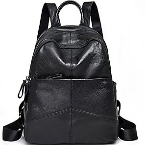 cheap Men's Bags-Large Capacity Cowhide Zipper Commuter Backpack Solid Color Daily Black