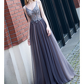 cheap Prom Dresses-A-Line Sparkle Blue Engagement Prom Dress Spaghetti Strap Sleeveless Floor Length Polyester with Appliques 2020