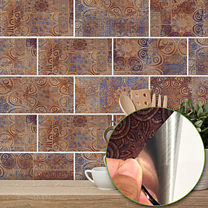 cheap Wall Stickers-20x10cmx9pcs Warm Metal Vintage Brick Stickers Retro Oil-proof Waterproof Tile Wallpaper For Kitchen Bathroom Ground Wall House Decoration