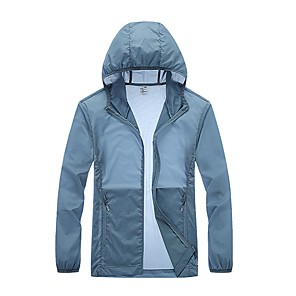 cheap Backpacks & Bags-Men's Daily / Sports Basic Spring &  Fall / Spring & Summer Regular Jacket, Solid Colored Hooded Long Sleeve Nylon Blue / Dusty Blue / White