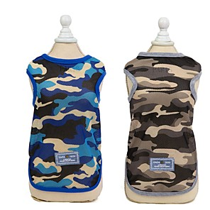 cheap Dog Clothes-Dog Vest Camouflage Casual / Daily Dog Clothes Blue Green Costume Polyester S M L XL XXL