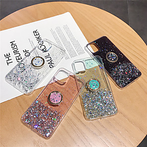 cheap iPhone Cases-Case For Apple iPhone 11 / iPhone 11 Pro / iPhone SE / 5s Ring Holder Back Cover Glitter Shine TPU / Metal