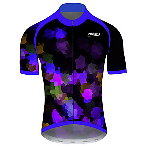 cheap Cycling Jerseys-21Grams Men's Short Sleeve Cycling Jersey Black / Blue Patchwork Geometic Bike Jersey Top Mountain Bike MTB Road Bike Cycling UV Resistant Breathable Quick Dry Sports Clothing Apparel / Stretchy