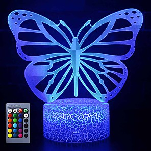 cheap 3D Night Lights-Butterfly 3D LED Night Light Lamps Optical Illusion Lamp 16 Colors Touch Xmas Decoration Lighting Table Desk Visual Lamp for Home Decoration and Kiddie Kids Children Family Holiday GIFS (Butterfly)