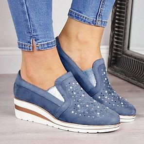 cheap Shoes Covers & Rainshoes-Women's Loafers & Slip-Ons Wedge Heel Round Toe Suede Summer Pink / Blue / Gray