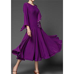 cheap Music Boxes-Ballroom Dance Dress Pleats Women's Performance 3/4 Length Sleeve Polyester Taffeta