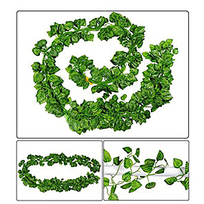 cheap Artificial Plants-Rattan Artificial Ivy Leaf Garland Plants Vine for Hanging Wedding Garland Fake Foliage Flowers Home Kitchen Garden Office Wedding Wall Decor 1 Pack 200X10CM as whole
