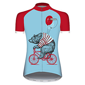 cheap Cycling Jerseys-21Grams Women's Short Sleeve Cycling Jersey Red+Blue Novelty Animal Balloon Bike Jersey Top Mountain Bike MTB Road Bike Cycling UV Resistant Breathable Quick Dry Sports Clothing Apparel / Stretchy