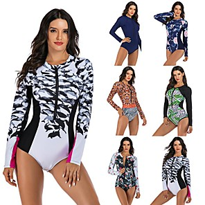 cheap Wetsuits, Diving Suits & Rash Guard Shirts-Women's One Piece Swimsuit Floral / Botanical Padded Swimwear Swimwear Black / White Red Green Thermal / Warm Breathable Quick Dry Long Sleeve - Swimming Surfing Water Sports Autumn / Fall Spring