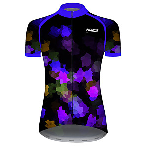 cheap Cycling Jerseys-21Grams Women's Short Sleeve Cycling Jersey Spandex Polyester Black / Blue Patchwork Sparkly Geometic Bike Jersey Top Mountain Bike MTB Road Bike Cycling UV Resistant Breathable Quick Dry Sports