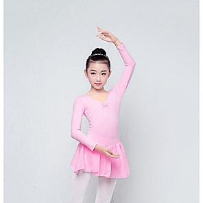 cheap Ballet Dancewear-Kids' Dancewear Leotard / Onesie Bow(s) Girls' Training Performance Long Sleeve Cotton Blend