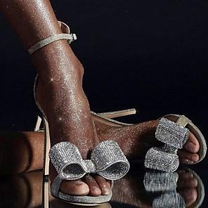 cheap Wedding Shoes-Women's Wedding Shoes Stiletto Heel Open Toe PU Spring & Summer Silver