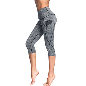 cheap Exercise, Fitness & Yoga Clothing-Women's High Waist Yoga Pants Pocket Fashion Black Gray Running Fitness Gym Workout 3/4 Tights Sport Activewear Quick Dry Tummy Control Butt Lift Moisture Wicking High Elasticity Slim