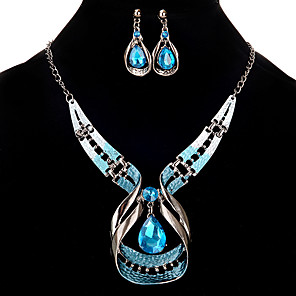 cheap Hair Jewelry-Women's Jewelry Set Hollow Out Rhinestone Earrings Jewelry Silver For Festival