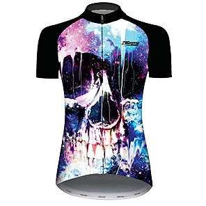 cheap Cycling Jersey & Shorts / Pants Sets-21Grams Women's Short Sleeve Cycling Jersey Black / Blue Galaxy Skull Bike Jersey Top Mountain Bike MTB Road Bike Cycling UV Resistant Breathable Quick Dry Sports Clothing Apparel / Stretchy