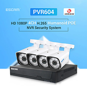 cheap NVR Kits-ESCAM PVR604 H.265 1080P 4CH POE NVR Security System with Humanoid Alarm Outdoor IP Camera