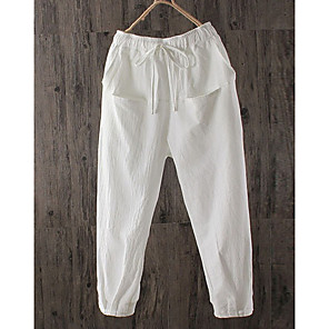 cheap Wedding Shoes-Women's Basic Loose Chinos Pants - Solid Colored Linen White Black Brown S / M / L