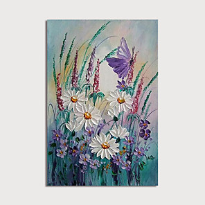 cheap Abstract Paintings-Hand Painted Canvas Oilpainting Abstract Flowers by Knife Home Decoration with Frame Painting Ready to Hang With Stretched Frame