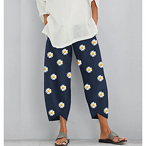 cheap Pillow Covers-Women's Basic Loose Chinos Pants - Floral Daisy White Khaki Navy Blue S / M / L