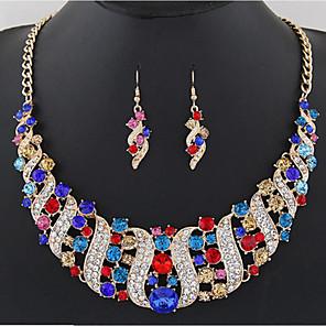 cheap Jewelry Sets-Women's Citrine Drop Earrings Collar Necklace Rainbow Ladies Stylish Luxury Classic Elegant Bridal Rhinestone Earrings Jewelry White / Black / Purple For Wedding Party