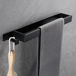 cheap Towel Bars-16-Inch Stainless Steel Bathroom Towel Holder, Self Adhesive Bath Towel Rack with hook,  Wall Mounted, Contemporary Style Bathroom Hardware Accessories Towel Bar, Rustproof, 3 Colors, Matte Black, Bru