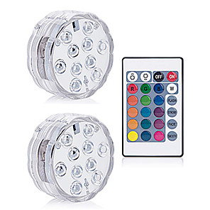 cheap Pathway Lights-2X SMD5050 IP68 Underwater Lamp With Remote Controlled RGB Submersible Light AAA Battery Operated For Vase Bowl Garden Party Swimming Pool Decor Lighting (come without battery)