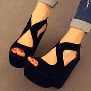 cheap Women's Sandals-Women's Sandals Wedge Sandals Summer Wedge Heel Open Toe Daily Suede Black