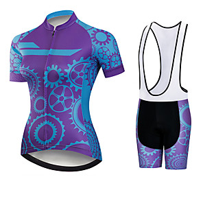 cheap Cycling Jerseys-21Grams Women's Short Sleeve Cycling Jersey with Bib Shorts Black / Blue Gear Bike Clothing Suit Breathable 3D Pad Quick Dry Ultraviolet Resistant Sweat-wicking Sports Solid Color Mountain Bike MTB