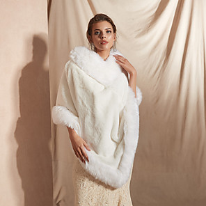 cheap Wedding Wraps-Sleeveless Shawls / Capes Faux Fur Party / Evening Shawl & Wrap / Women's Wrap With Button