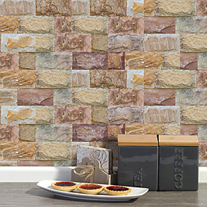 cheap Wall Stickers-20x10cmx9pcs Brown Stone Brick Wall Stickers Retro Oil-proof Waterproof Tile Wallpaper For Kitchen Bathroom Ground Wall House Decoration