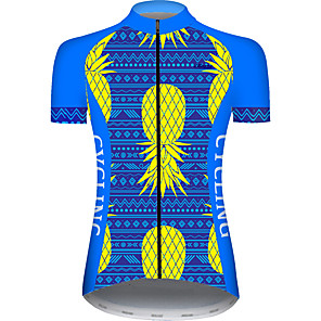 cheap Cycling Jerseys-21Grams Women's Short Sleeve Cycling Jersey Blue+Yellow Fruit Bike Jersey Top Mountain Bike MTB Road Bike Cycling UV Resistant Breathable Quick Dry Sports Clothing Apparel / Stretchy / Race Fit