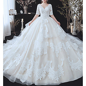 cheap Triathlon Clothing-Ball Gown Wedding Dresses V Neck Watteau Train Lace Tulle Half Sleeve Formal Wedding Dress in Color with Ruffles Appliques 2020