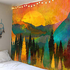 cheap Wall Tapestries-Wall Tapestry Art Decor Blanket Curtain Picnic Tablecloth Hanging Home Bedroom Living Room Dorm Decoration Landscape Mountain Golden Sunset Sunrise Forest Ink