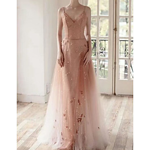 cheap Prom Dresses-A-Line Luxurious Sparkle Engagement Formal Evening Dress V Neck Sleeveless Sweep / Brush Train Tulle with Pearls Appliques 2020