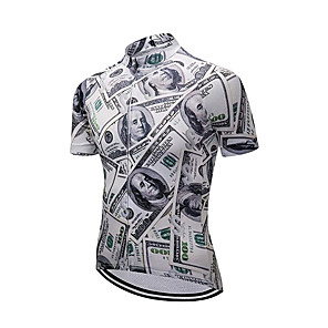 cheap Cycling Jerseys-21Grams Men's Short Sleeve Cycling Jersey Black / White Novelty American / USA National Flag Bike Jersey Top Mountain Bike MTB Road Bike Cycling UV Resistant Breathable Quick Dry Sports Clothing