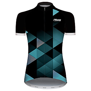 cheap Cycling Jerseys-21Grams Women's Short Sleeve Cycling Jersey Black / Green Plaid / Checkered Patchwork Geometic Bike Jersey Top Mountain Bike MTB Road Bike Cycling UV Resistant Breathable Quick Dry Sports Clothing