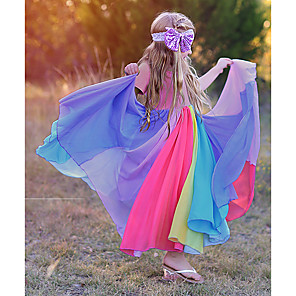 cheap Movie & TV Theme Costumes-Kids Toddler Girls' Sweet Cute Color Block Solid Colored Patchwork Short Sleeve Maxi Dress Fuchsia
