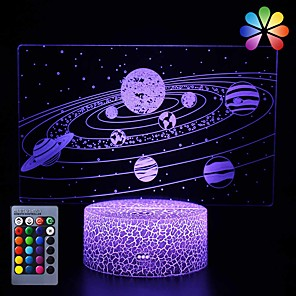 cheap 3D Night Lights-Galactic System 3D Optical Illusion Lamp Universe Space Galaxy Night Light for Kids Boys and Girls as on Birthdays or Holidays