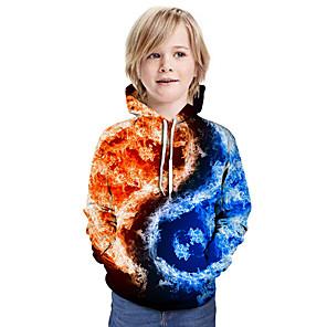 cheap Women's Boots-Kids Boys' Active Street chic 3D Patchwork Print Long Sleeve Hoodie & Sweatshirt Rainbow