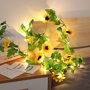 cheap LED String Lights-2.5M 20Leds Sunflower Fairy Led String Holiday Light Artificial Plants Vine Garland Copper LED Flexible String Light For Wedding Party Hanging Decoration Lights