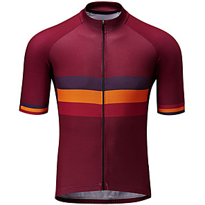 cheap Neon LED Lights-21Grams Men's Short Sleeve Cycling Jersey Red / Yellow Stripes Bike Jersey Top Mountain Bike MTB Road Bike Cycling UV Resistant Breathable Quick Dry Sports Clothing Apparel / Stretchy / Race Fit