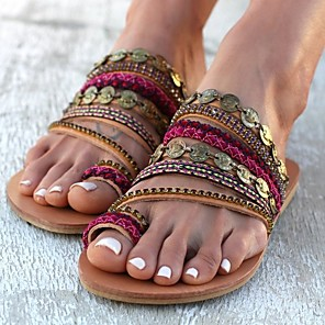 cheap Women's Sandals-Women's Sandals Boho / Beach Flat Sandals Spring & Summer Flat Heel Round Toe Boho Daily Beach Solid Colored PU Red