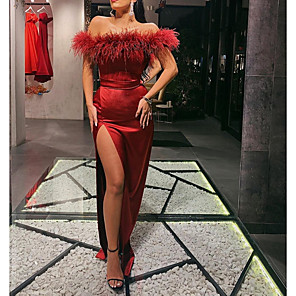 cheap Evening Dresses-Sheath / Column Sexy Red Wedding Guest Formal Evening Dress Off Shoulder Sleeveless Sweep / Brush Train Satin with Sash / Ribbon Split 2020