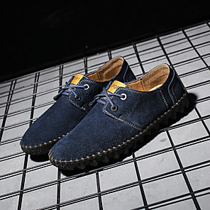 cheap Men's Oxfords-Men's Cowhide Fall / Spring & Summer Casual / British Oxfords Walking Shoes Breathable Burgundy / Blue / Brown