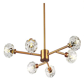 cheap Candle-Style Design-65cm Brass Sputnik Crystal Ball Shade Semi Close to Ceiling Light Flush Mounted Branches Chandeliers Polished Gold with 6 Light 240W Small Size