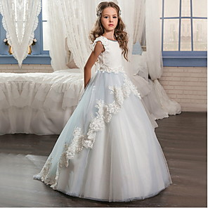 cheap Lolita Dresses-Ball Gown Floor Length Wedding / Event / Party Flower Girl Dresses - POLY Sleeveless Jewel Neck with Lace / Appliques
