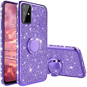 cheap Samsung Case-Case For Samsung Galaxy Galaxy Note 10 / A91 / M80S / S20 Ultra Ring Holder Back Cover Glitter Shine TPU / Metal