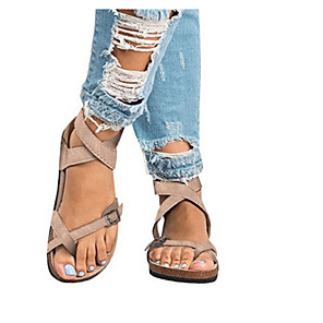 cheap Women's Sandals-Women's Sandals Flat Sandals Summer Flat Heel Open Toe Daily PU Black / Khaki / Beige / Bunion Sandals