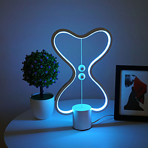 cheap Desk Lamps-Balance LED Table Lamp Smart Lampara Magnetic Mid-air Switch USB Creative Bedroom Bedside Night Light Double Heart Colorful Gift