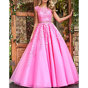 cheap Evening Dresses-Ball Gown Floral Pink Quinceanera Prom Dress Illusion Neck Sleeveless Court Train Polyester with Crystals Appliques 2020